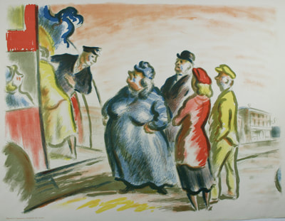 Edward Ardizzone (1900 - 1979) The Bus Stop Lithograph From the second series of Contemporary Lithographs - Gwen Hughes